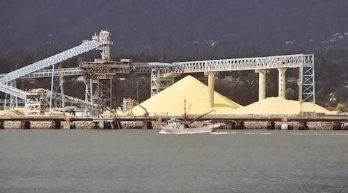 pile of sulfur